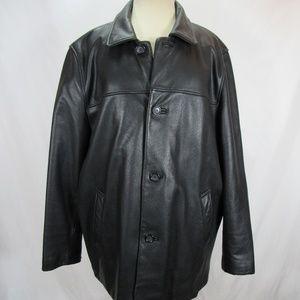Brooks Brothers Black Leather Jacket Coat Large
